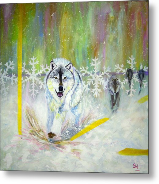 Wolves Approach Metal Print
