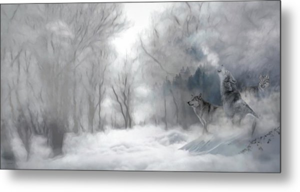 Wolves In The Mist Metal Print