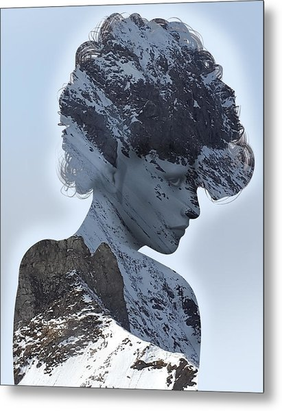 Woman And A Snowy Mountain Metal Print