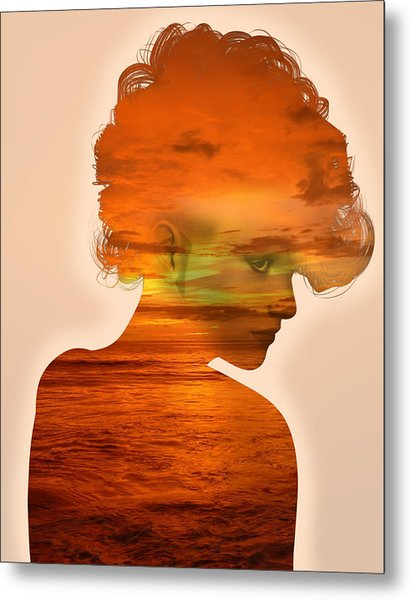Woman And A Sunset Metal Print