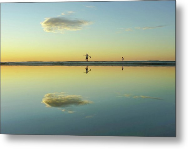 Woman And Cloud Reflected On Beach Lagoon At Sunset Metal Print