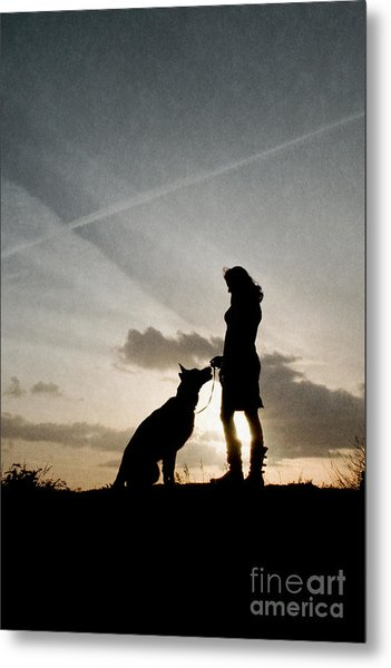 Woman And Dog  Metal Print