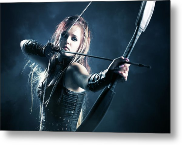 Woman Archer Aiming Arrow Metal Print