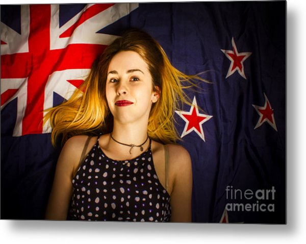 Woman Celebrating Australia Day On Australian Flag Metal Print