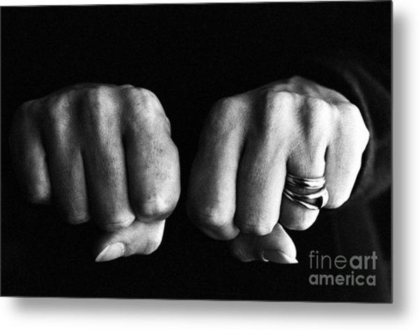 Woman Clenching Two Hands Into Fists In A Fit Of Aggression Metal Print by Sami Sarkis
