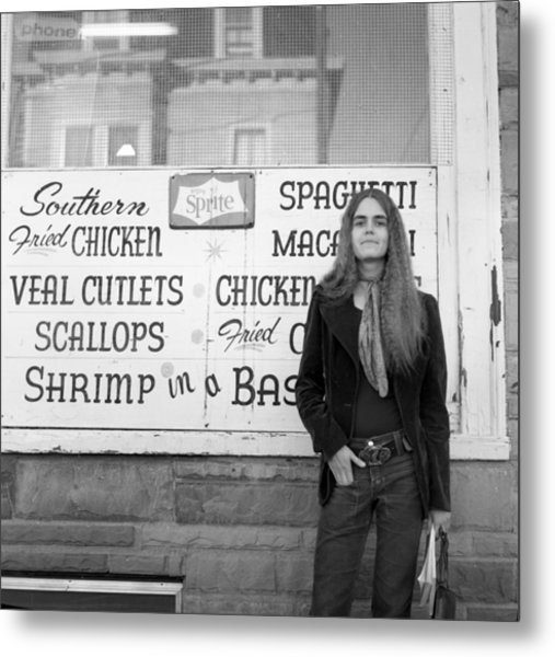Woman Contemplates Scallops, 1972 Metal Print