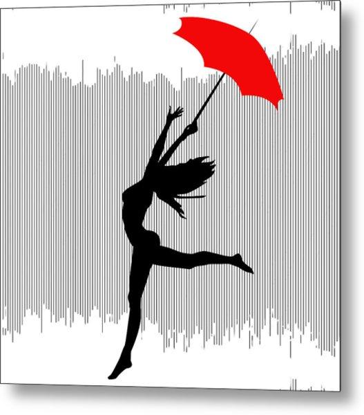 Woman Dancing In The Rain With Red Umbrella Metal Print