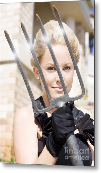 Woman Giving The Garden Forks Metal Print