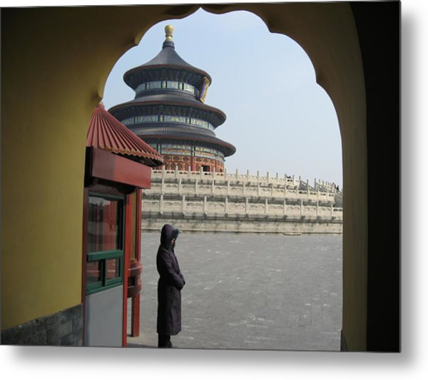 Woman Guarding The Temple Of Heaven Metal Print by James Lukashenko