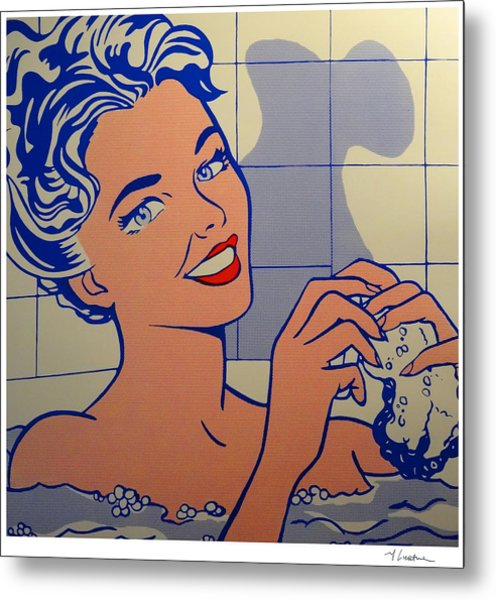 Woman In Bath Metal Print