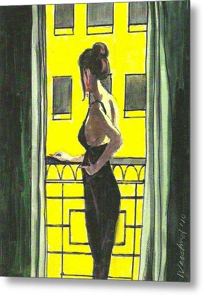 Woman In Black Dress On Balcony Metal Print by Harry  Weisburd