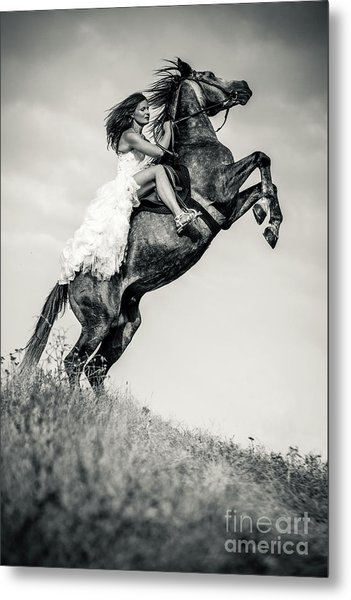 Metal Print featuring the photograph Woman In Dress Riding Chestnut Black Rearing Stallion by Dimitar Hristov