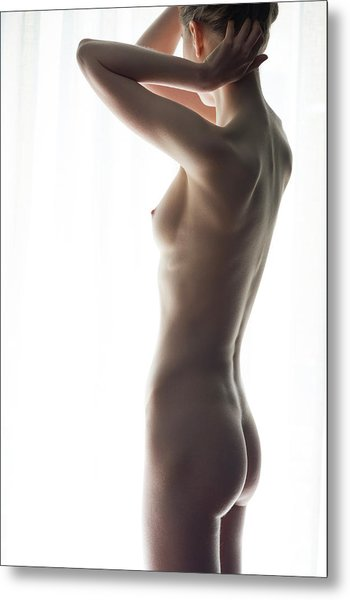 Woman In Front Of Curtain Metal Print