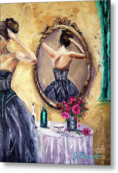 Woman In Mirror Metal Print