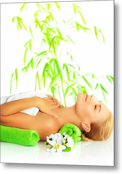 Woman In Spa Salon Metal Print