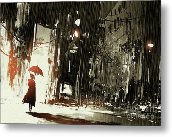 Metal Print featuring the painting Woman In The Destroyed City by Tithi Luadthong