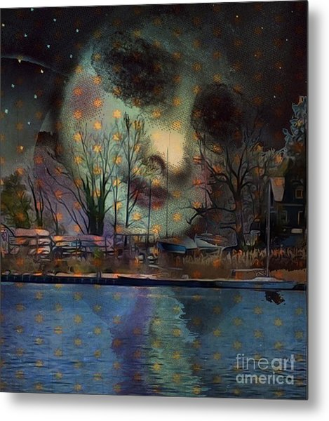 Woman In The Moon Metal Print