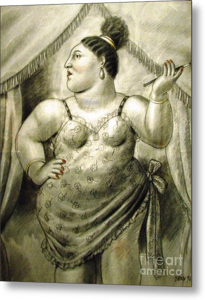 woman performer Botero Metal Print