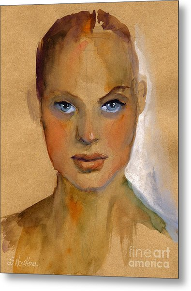 Woman Portrait Sketch Metal Print