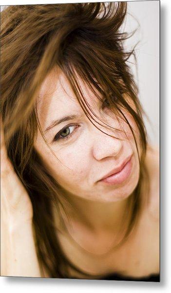 Woman Shaking Her Hair Metal Print by Gabor Pozsgai