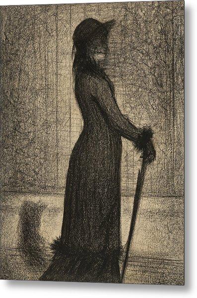 Woman Strolling Metal Print