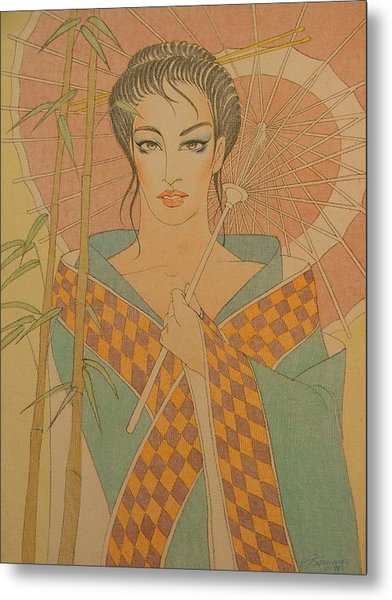 Woman Under The Bamboo Umbrella Metal Print by Gary Kaemmer