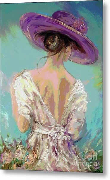 Woman Wearing A Purple Hat Metal Print
