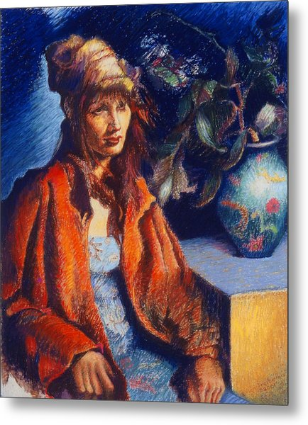 Woman With A Chinese Vase Metal Print