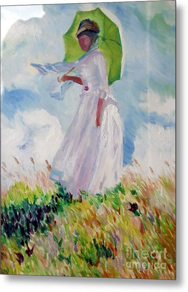 Woman With A Parasol Metal Print