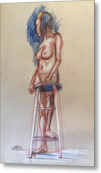 Woman With A Stool Metal Print by Alejandro Lopez-Tasso
