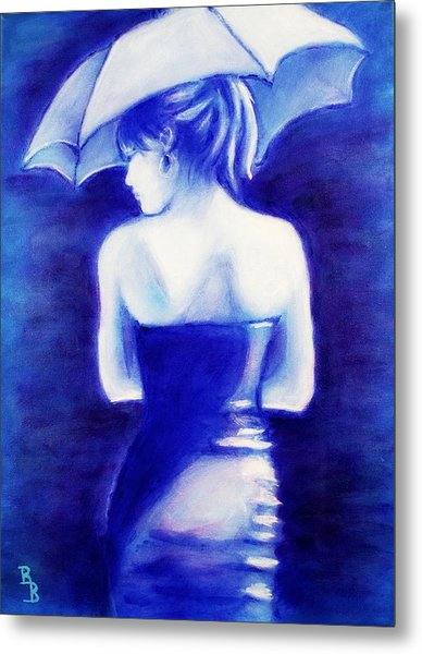 Woman With An Umbrella Blue Metal Print