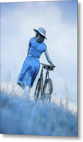 Woman With Bicycle In Field Metal Print