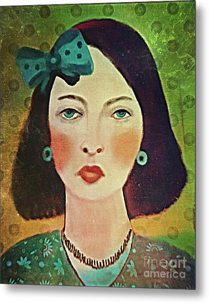 Woman With Blue Hair Bow Metal Print