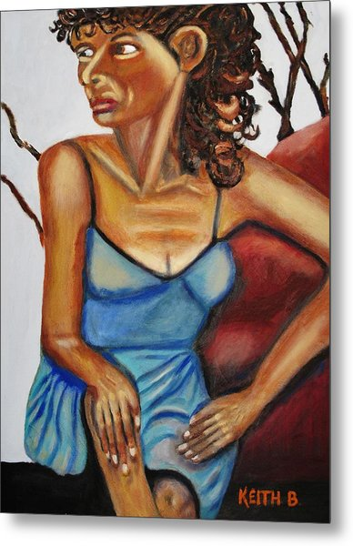 Woman With Curly Hair Metal Print by Keith Bagg