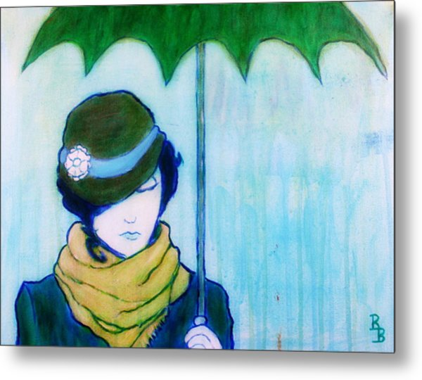 Woman With Green Umbrella Metal Print