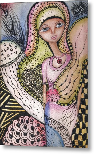 Metal Print featuring the mixed media Woman With Large Eyes by Prerna Poojara