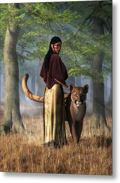 Metal Print featuring the digital art Woman With Mountain Lion by Daniel Eskridge