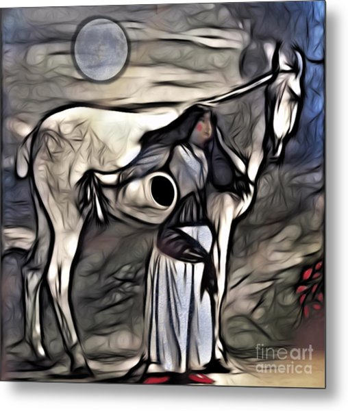 Woman With White Horse Metal Print