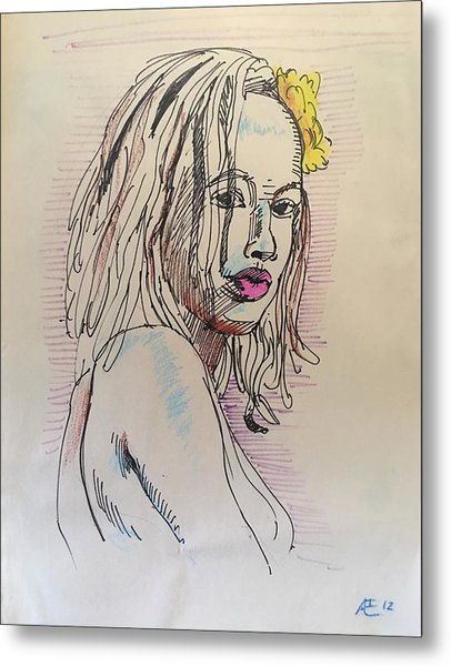 Woman With Yellow Flower Metal Print by Alejandro Lopez-Tasso