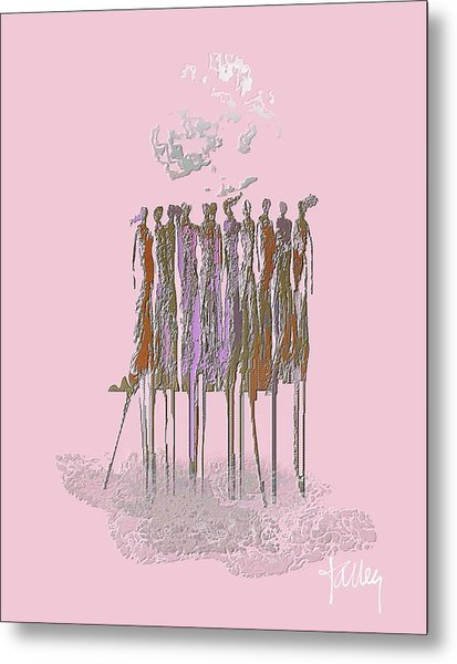 Metal Print featuring the mixed media Women Chanting- Fierce Cancer Warriors by Larry Talley