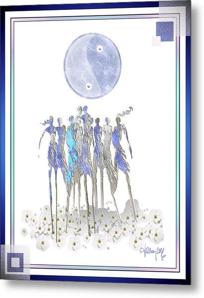 Women Chanting - Full Moon Flower Song Metal Print