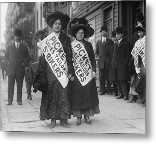Women Strike Pickets From Ladies Metal Print