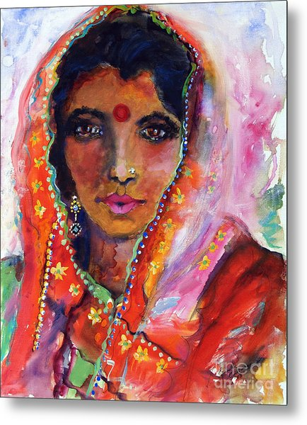 Women With Red Bindi By Ginette Metal Print