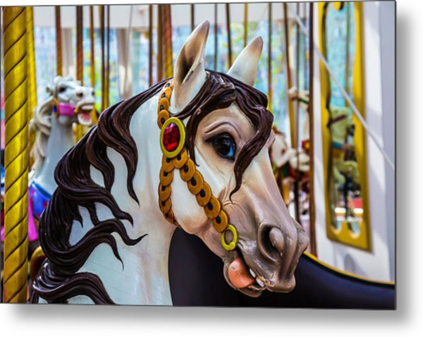 Wonderful Carrousel Horse Portrait  Metal Print