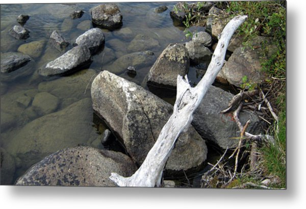 Wood And Rocks In Water Metal Print