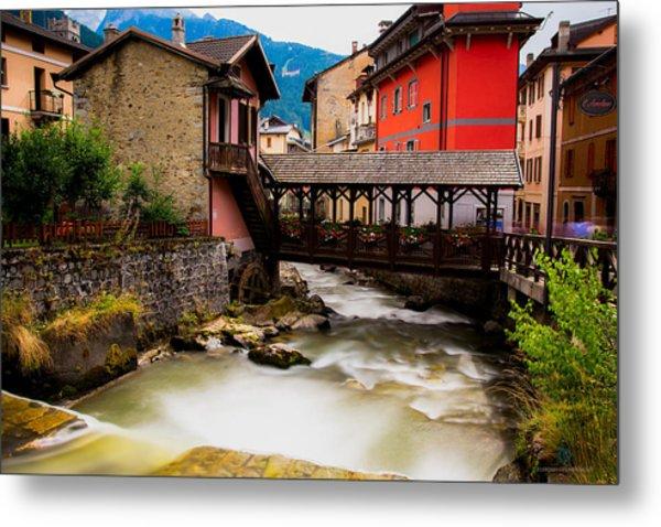 Wood Bridge On The River Metal Print