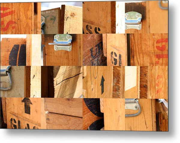 Wood Crates Metal Print