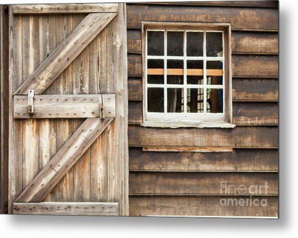 Wood Door And Window Metal Print