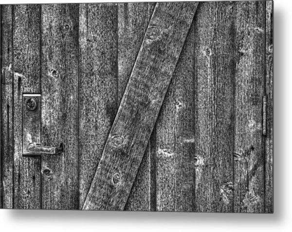 Wood Door With Handle Detail Metal Print