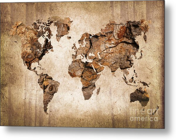 Wood World Map Metal Print